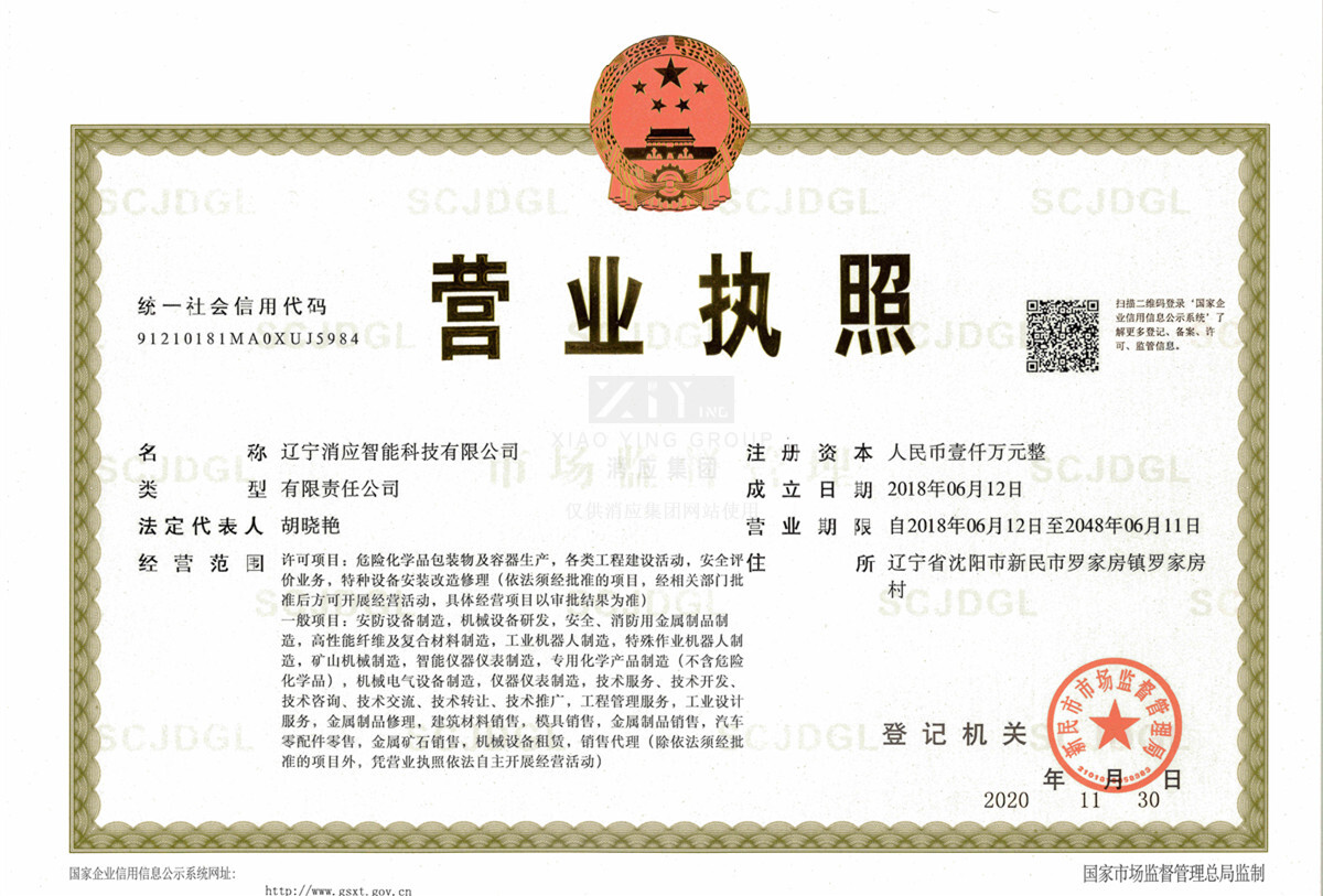 辽宁消应智能科技有限公司营业执照