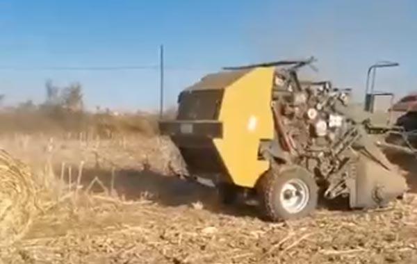 視頻工作:四平隆發機械9YJ-1.3錘抓園包打捆機